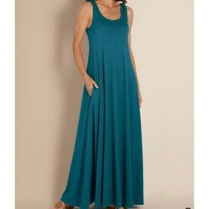 SOFT SURROUNDINGS SANTIAGO BLUE MAXI DRESS - LARGE